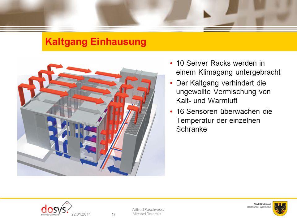 Kaltgang Einhausung 10 Server Racks werden in einem Klimagang untergebracht.