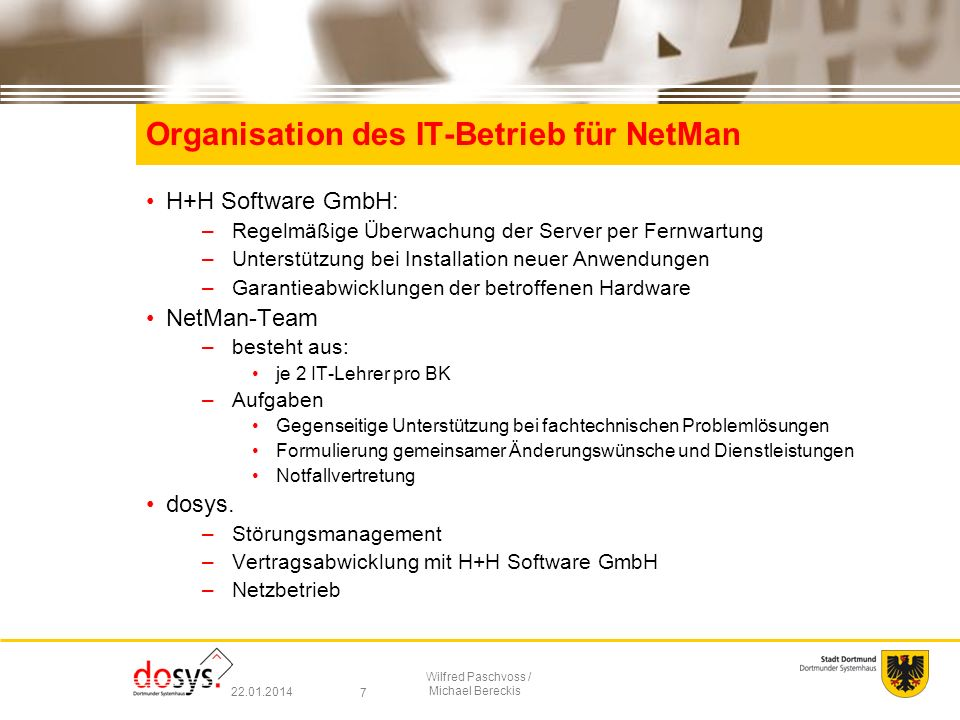 Organisation des IT-Betrieb für NetMan