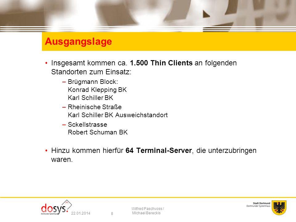 Ausgangslage Insgesamt kommen ca. 1.500 Thin Clients an folgenden Standorten zum Einsatz: Brügmann Block: Konrad Klepping BK Karl Schiller BK.