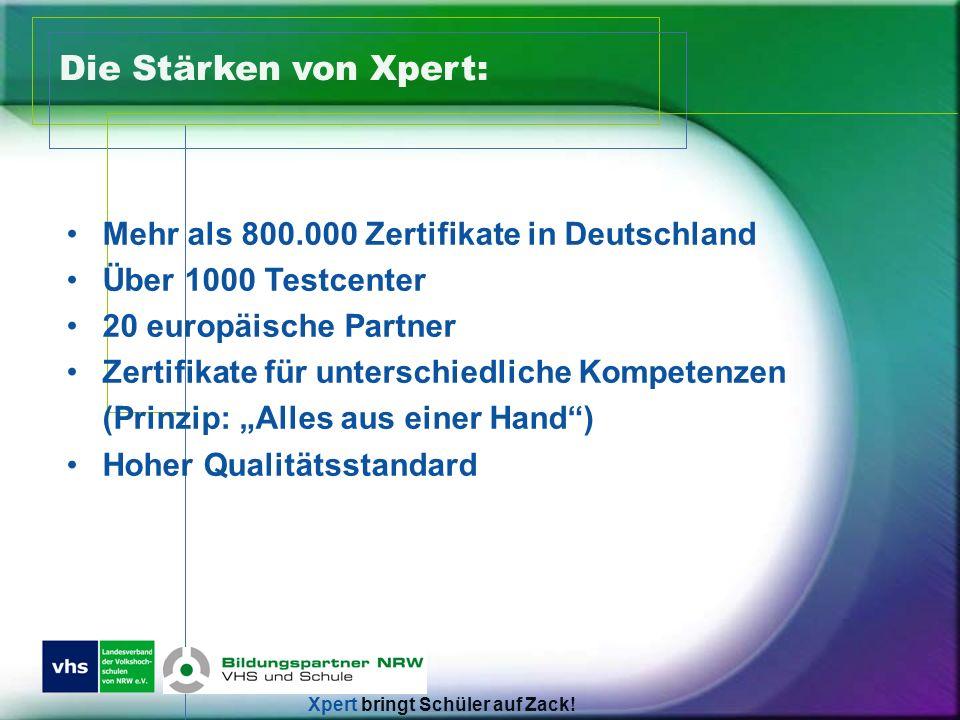 Die Stärken von Xpert: Mehr als 800.000 Zertifikate in Deutschland