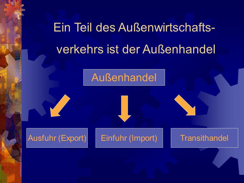 Ein Teil des Außenwirtschafts- verkehrs ist der Außenhandel