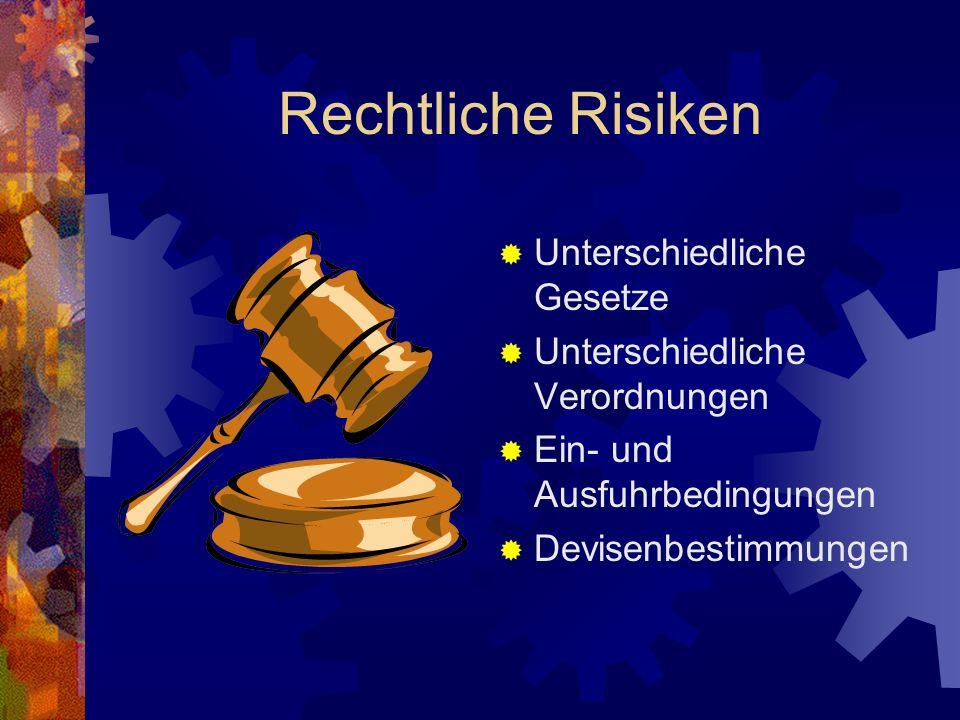 Rechtliche Risiken Unterschiedliche Gesetze