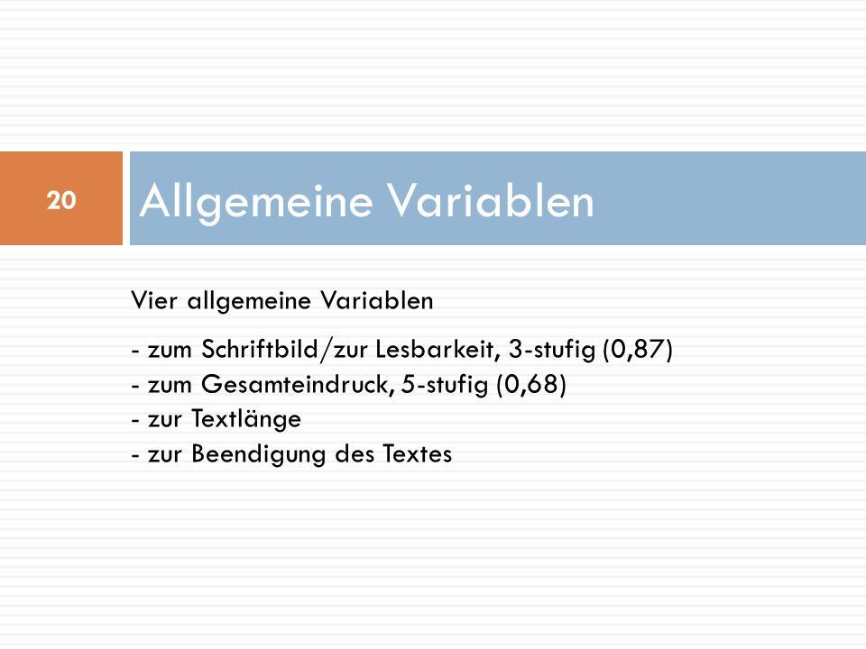 Allgemeine Variablen Vier allgemeine Variablen