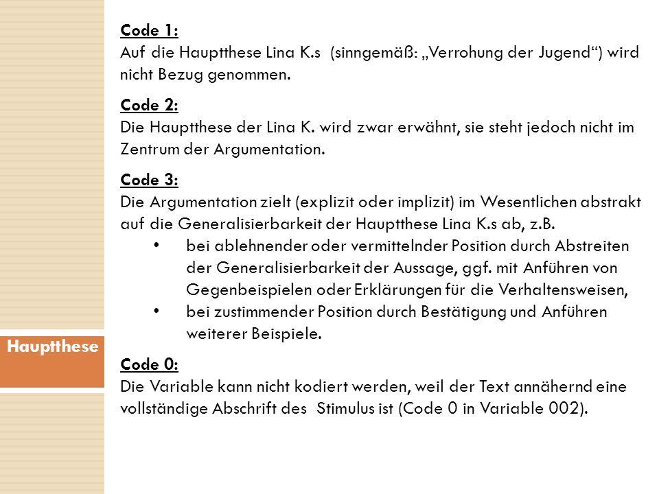 """Code 1: Auf die Hauptthese Lina K.s (sinngemäß: """"Verrohung der Jugend ) wird nicht Bezug genommen."""