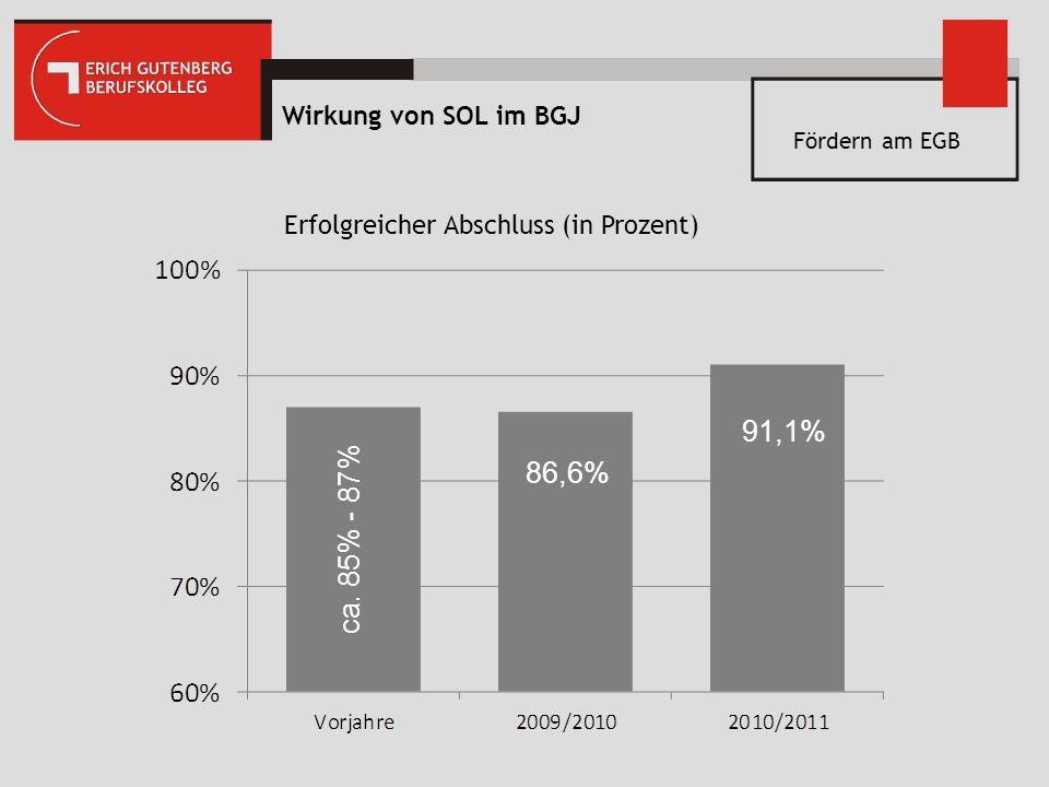 91,1% 86,6% ca. 85% - 87% Wirkung von SOL im BGJ
