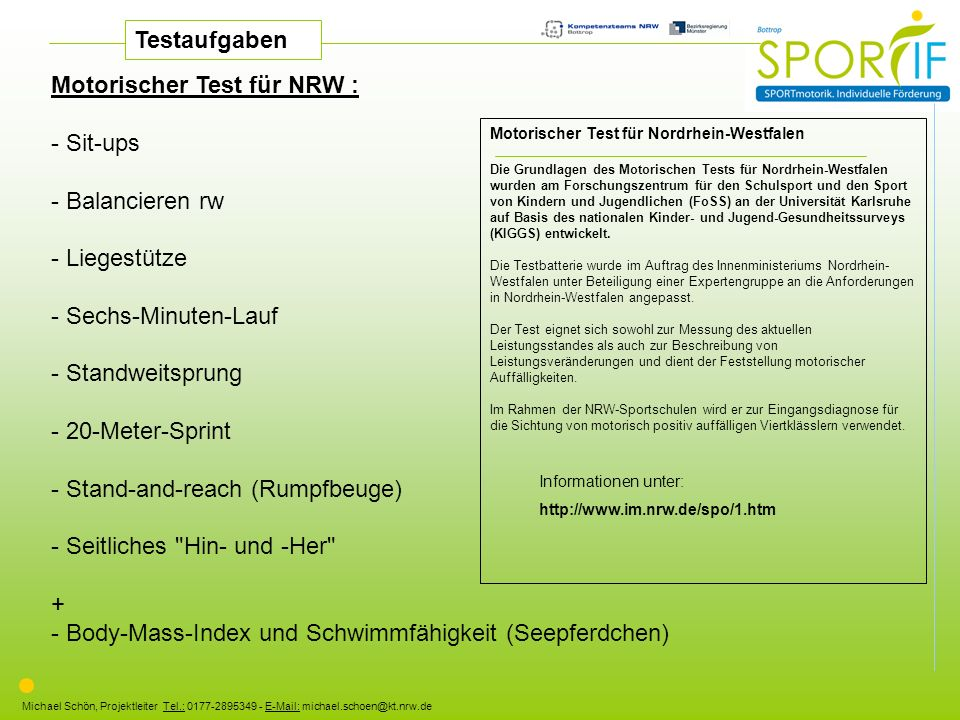Motorischer Test für NRW : - Sit-ups - Balancieren rw - Liegestütze