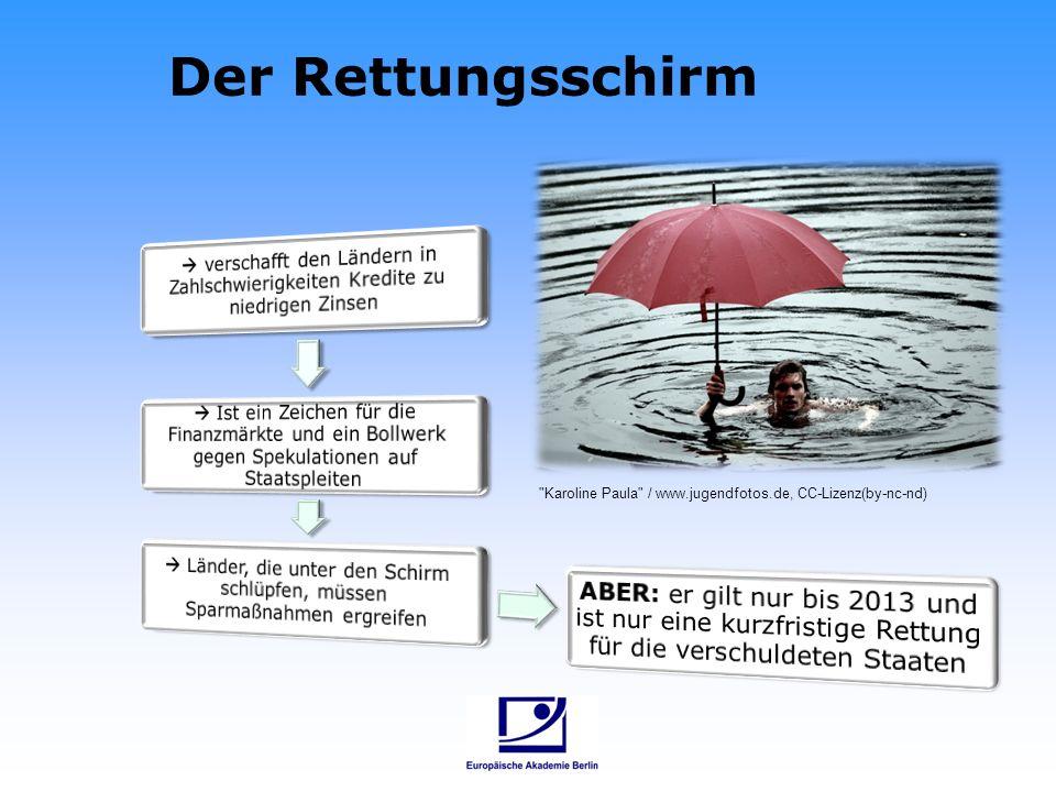 Der Rettungsschirm  verschafft den Ländern in Zahlschwierigkeiten Kredite zu niedrigen Zinsen.