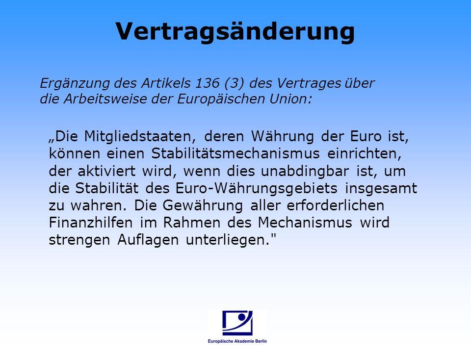 Vertragsänderung Ergänzung des Artikels 136 (3) des Vertrages über die Arbeitsweise der Europäischen Union:
