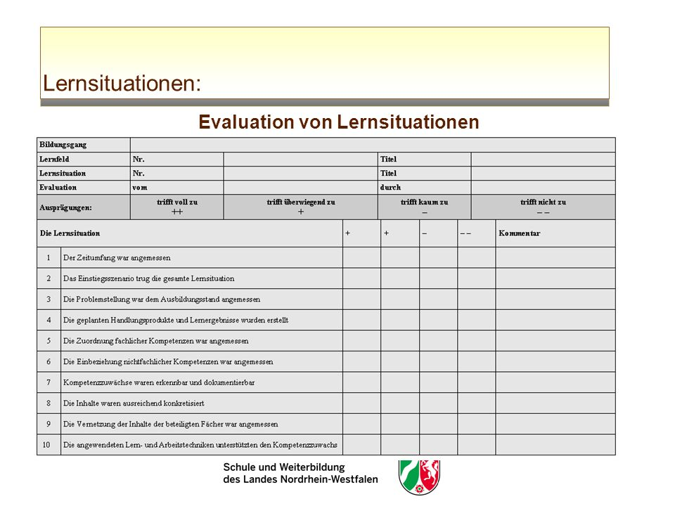Lernsituationen: Evaluation von Lernsituationen