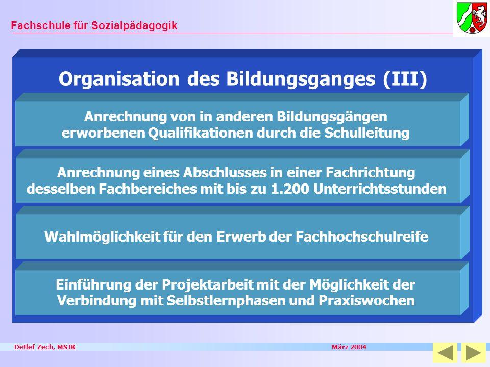 Organisation des Bildungsganges (III)