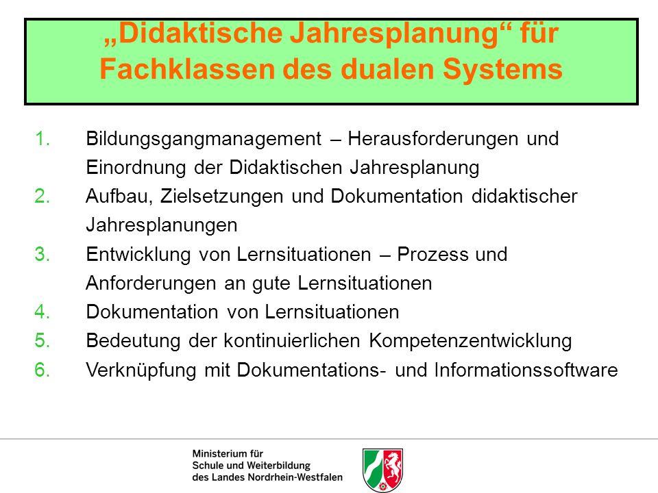 """""""Didaktische Jahresplanung für Fachklassen des dualen Systems"""