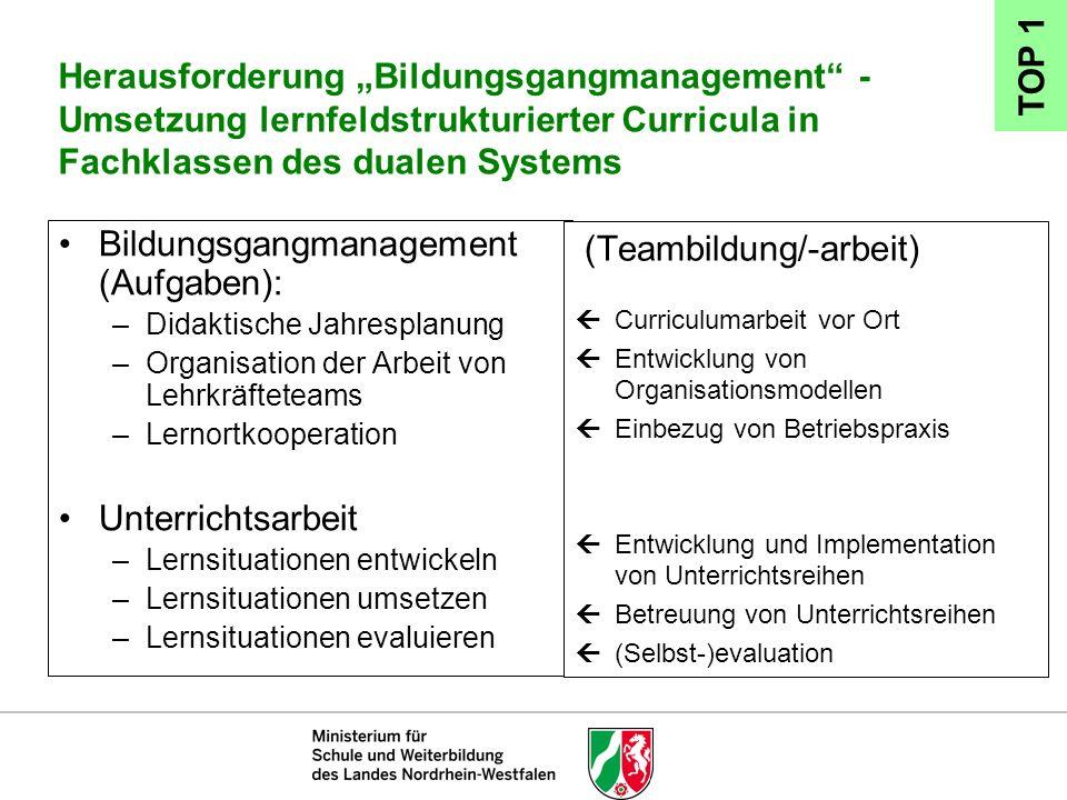 Bildungsgangmanagement (Aufgaben):