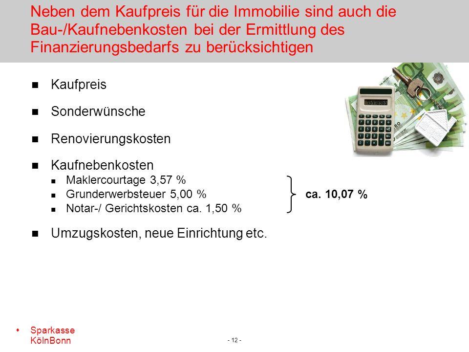Neben dem Kaufpreis für die Immobilie sind auch die Bau-/Kaufnebenkosten bei der Ermittlung des Finanzierungsbedarfs zu berücksichtigen