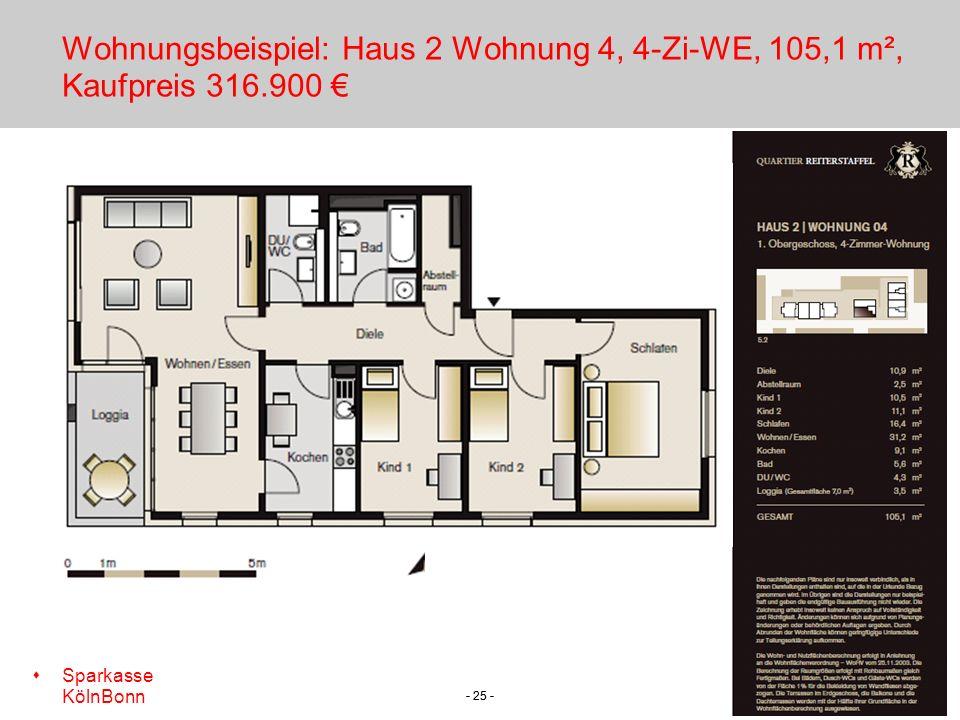 Wohnungsbeispiel: Haus 2 Wohnung 4, 4-Zi-WE, 105,1 m², Kaufpreis 316
