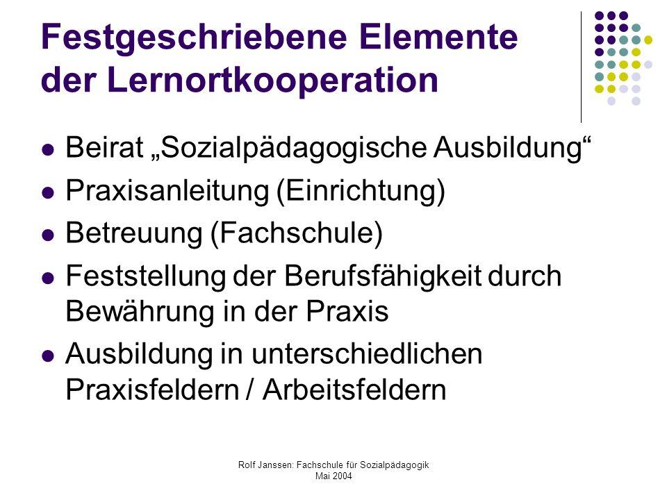 Festgeschriebene Elemente der Lernortkooperation