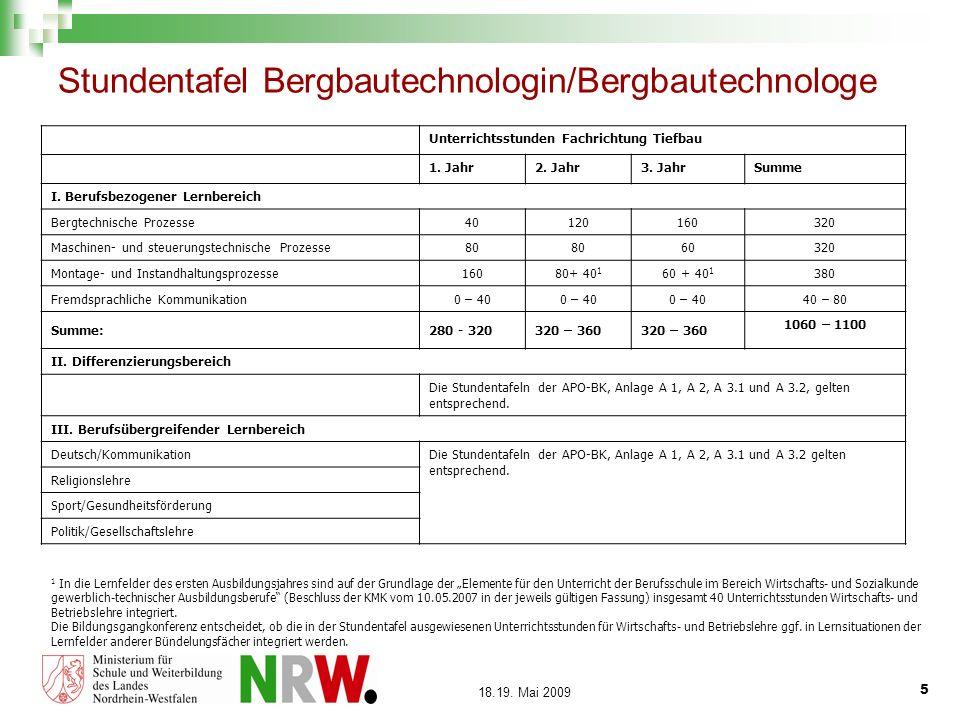 Stundentafel Bergbautechnologin/Bergbautechnologe