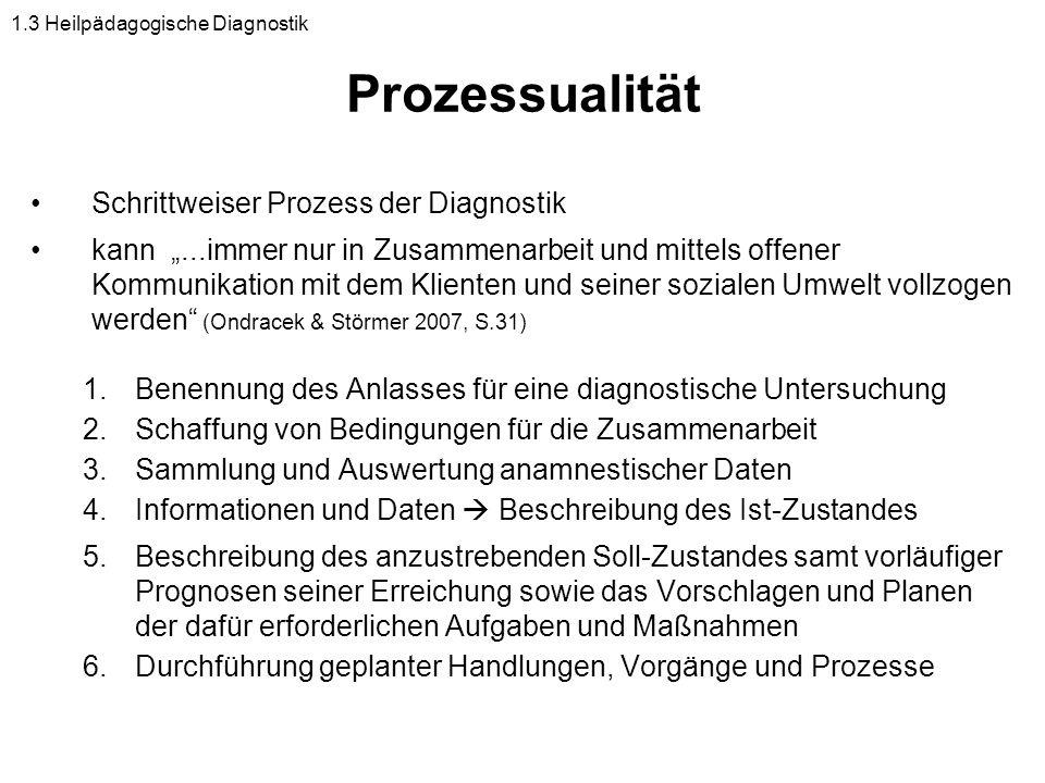 Prozessualität Schrittweiser Prozess der Diagnostik