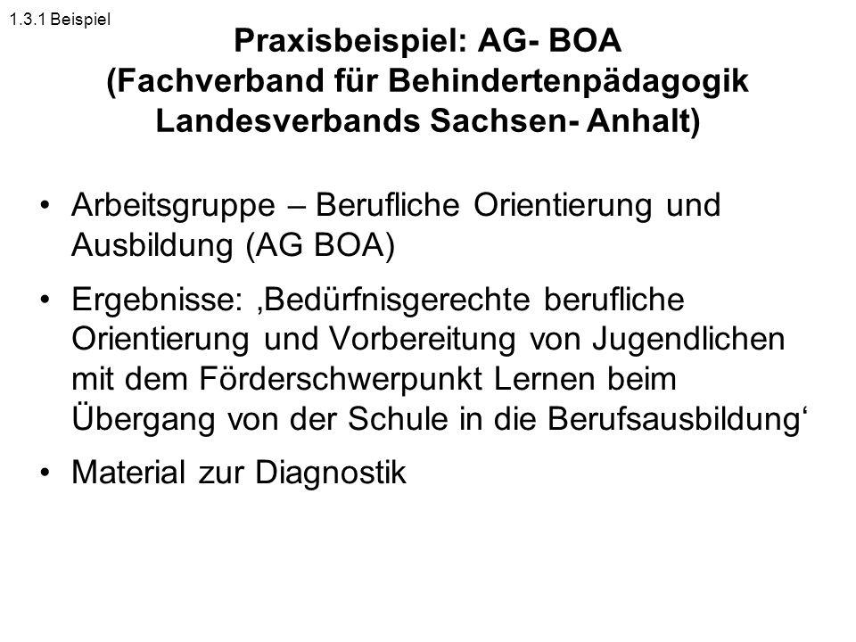 Arbeitsgruppe – Berufliche Orientierung und Ausbildung (AG BOA)