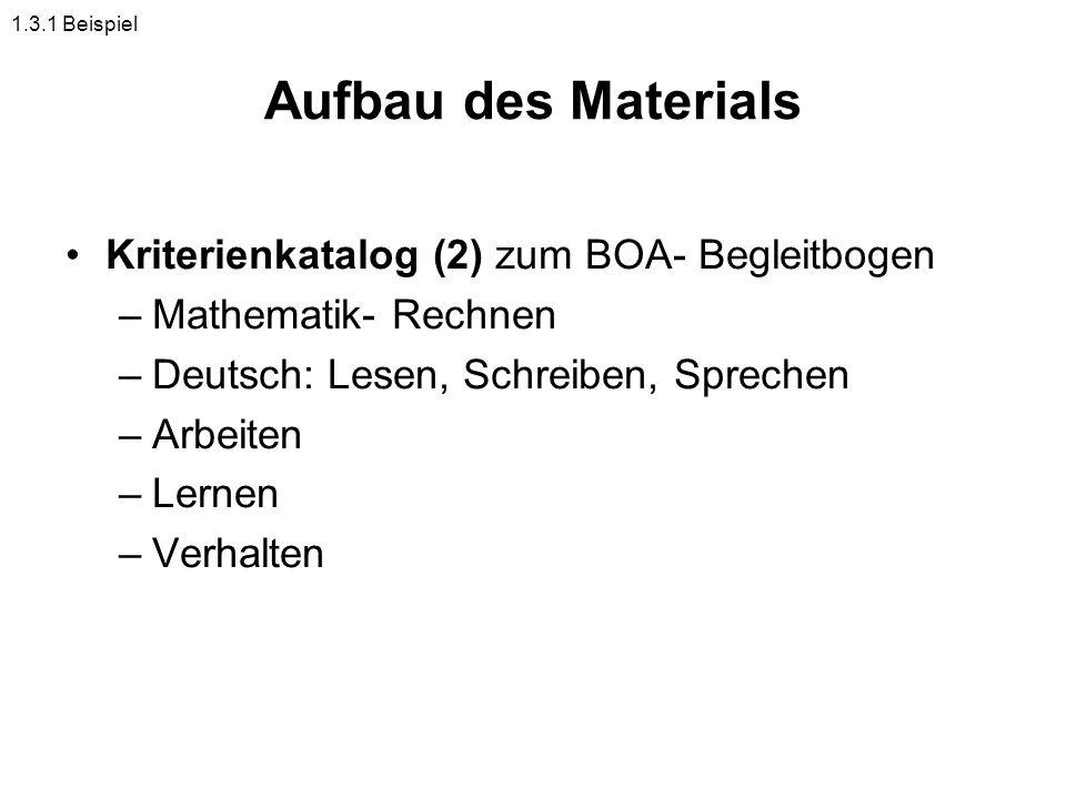 Aufbau des Materials Kriterienkatalog (2) zum BOA- Begleitbogen