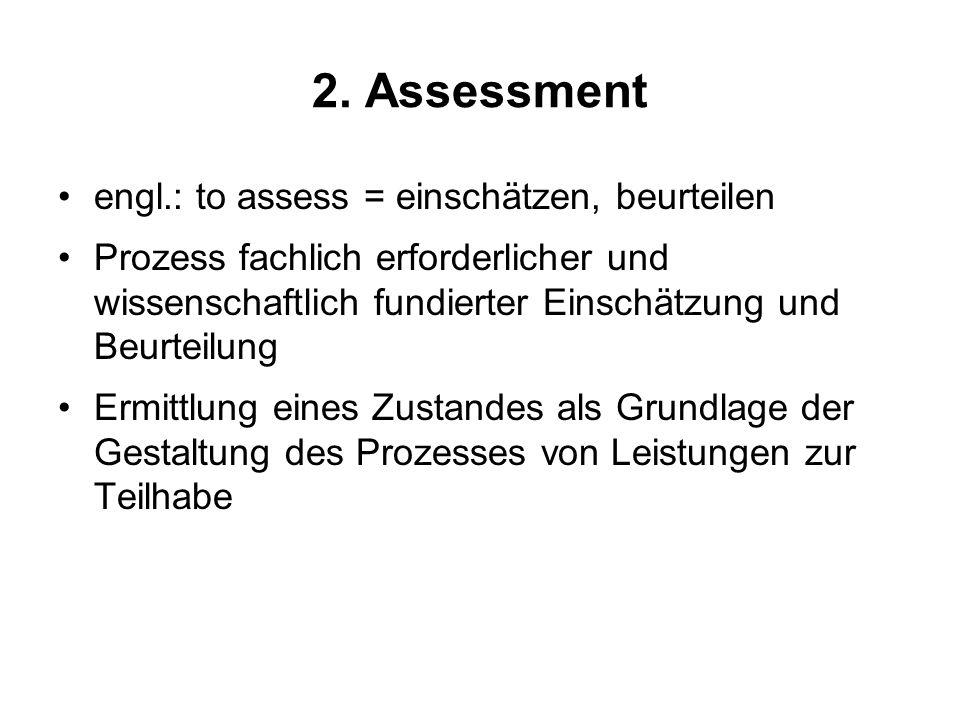 2. Assessment engl.: to assess = einschätzen, beurteilen