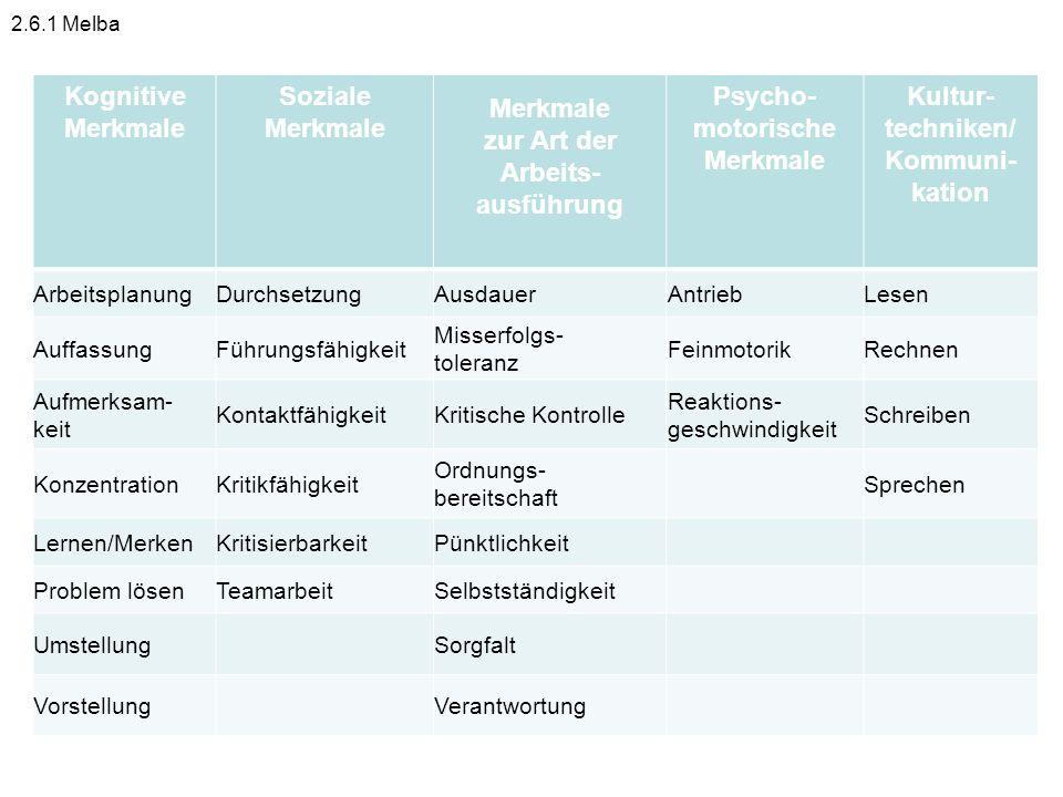 Kognitive Merkmale Soziale zur Art der Arbeits-ausführung