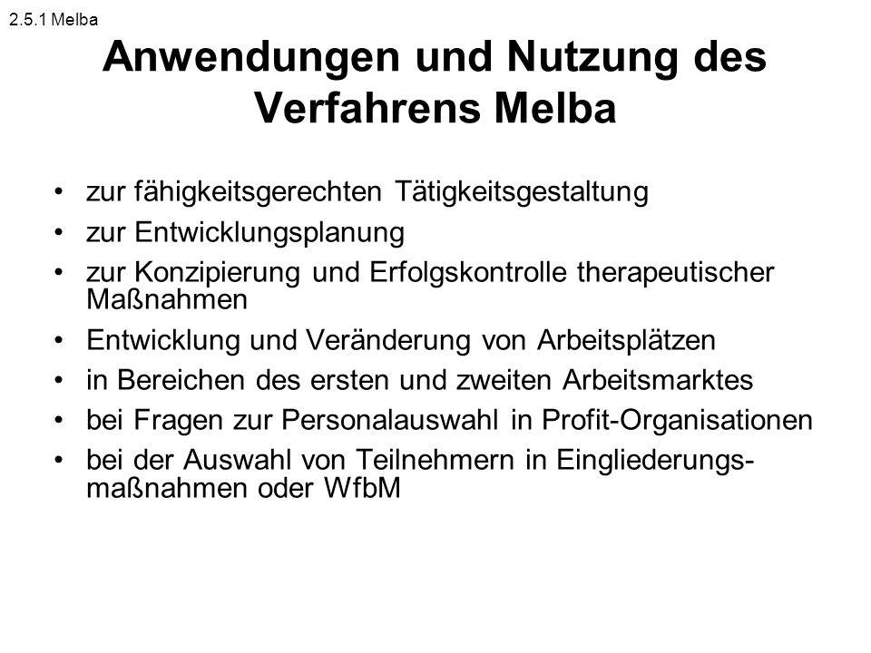 Anwendungen und Nutzung des Verfahrens Melba