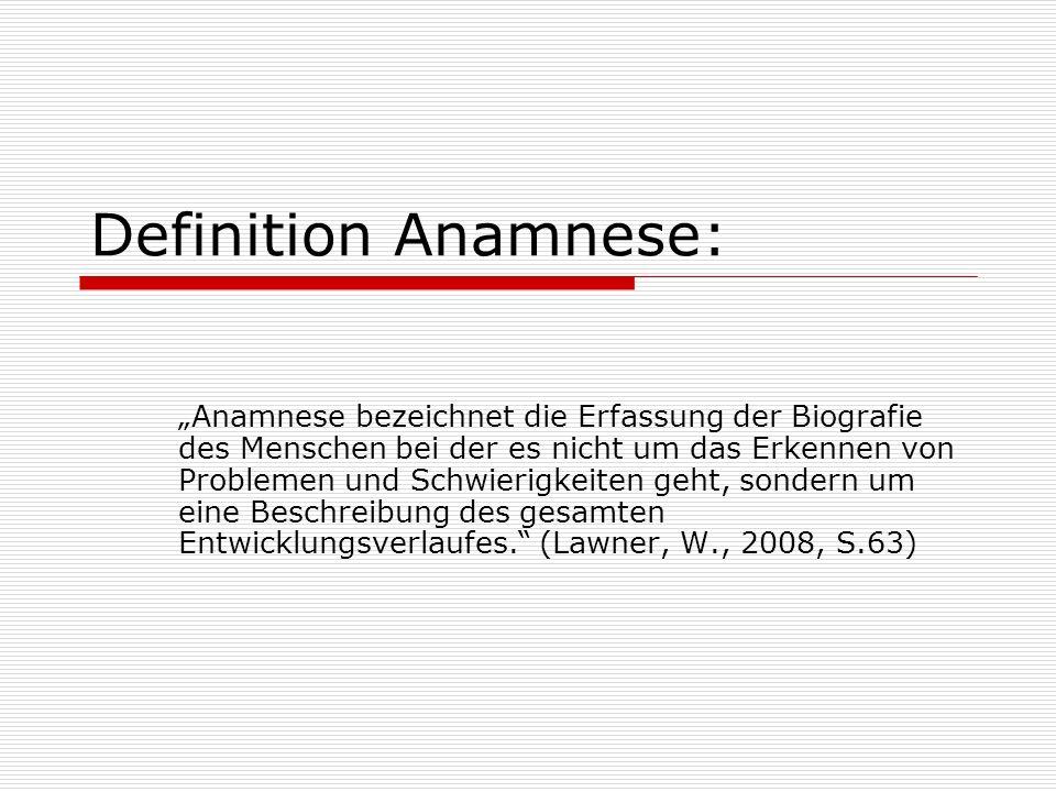 Definition Anamnese: