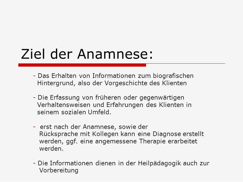 Ziel der Anamnese: Das Erhalten von Informationen zum biografischen