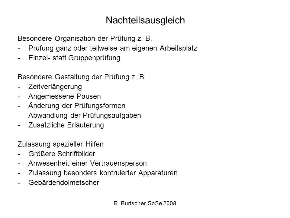 Nachteilsausgleich Besondere Organisation der Prüfung z. B.
