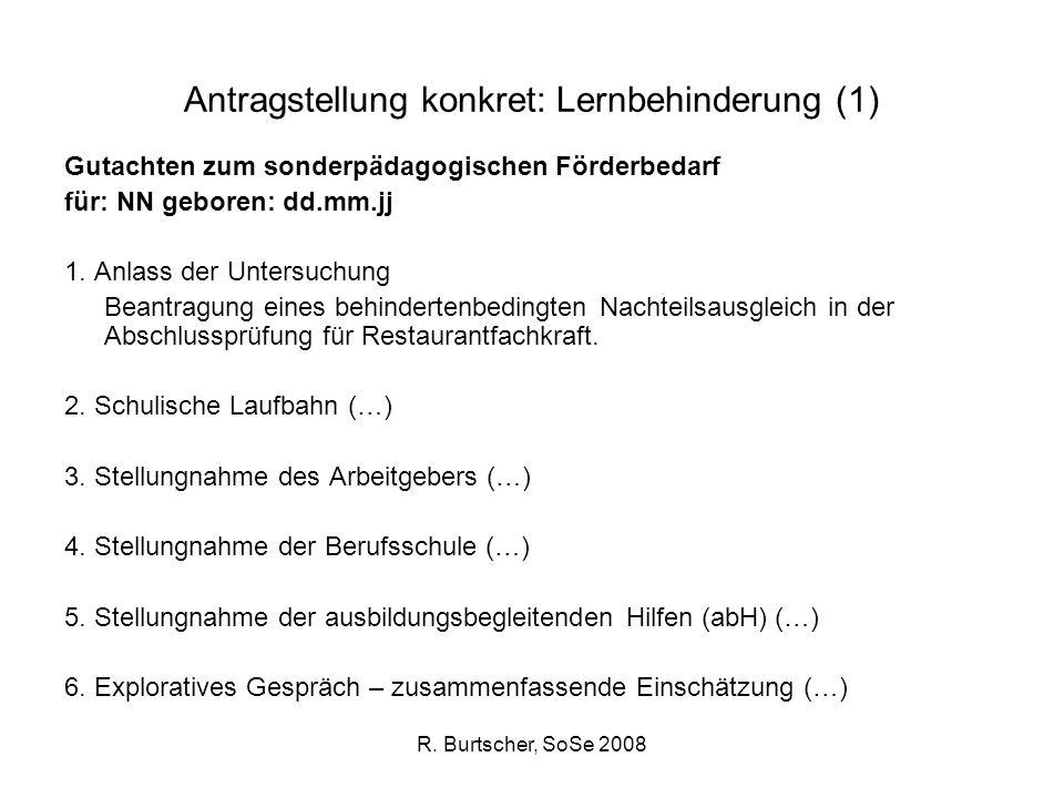 Antragstellung konkret: Lernbehinderung (1)
