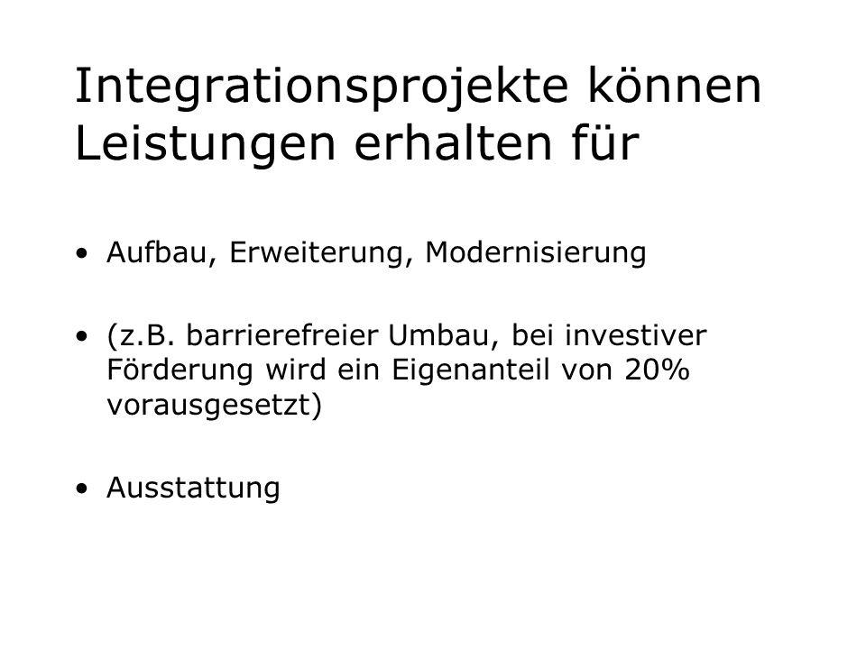 Integrationsprojekte können Leistungen erhalten für