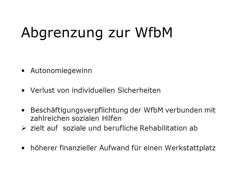Abgrenzung zur WfbM Autonomiegewinn