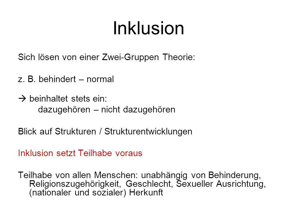 Inklusion Sich lösen von einer Zwei-Gruppen Theorie:
