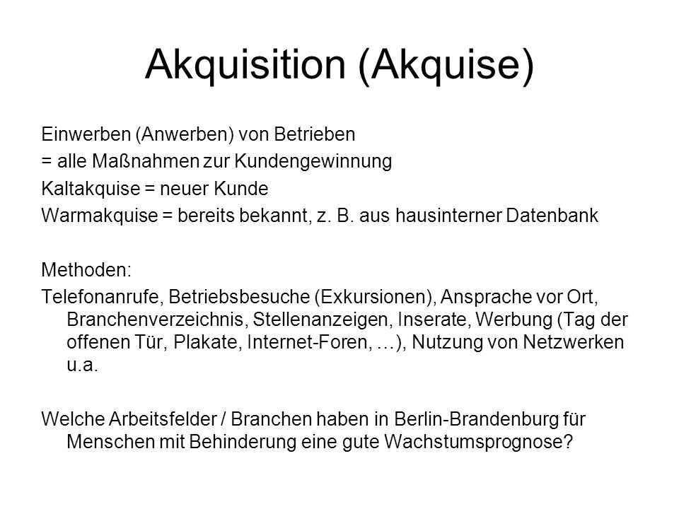 Akquisition (Akquise)