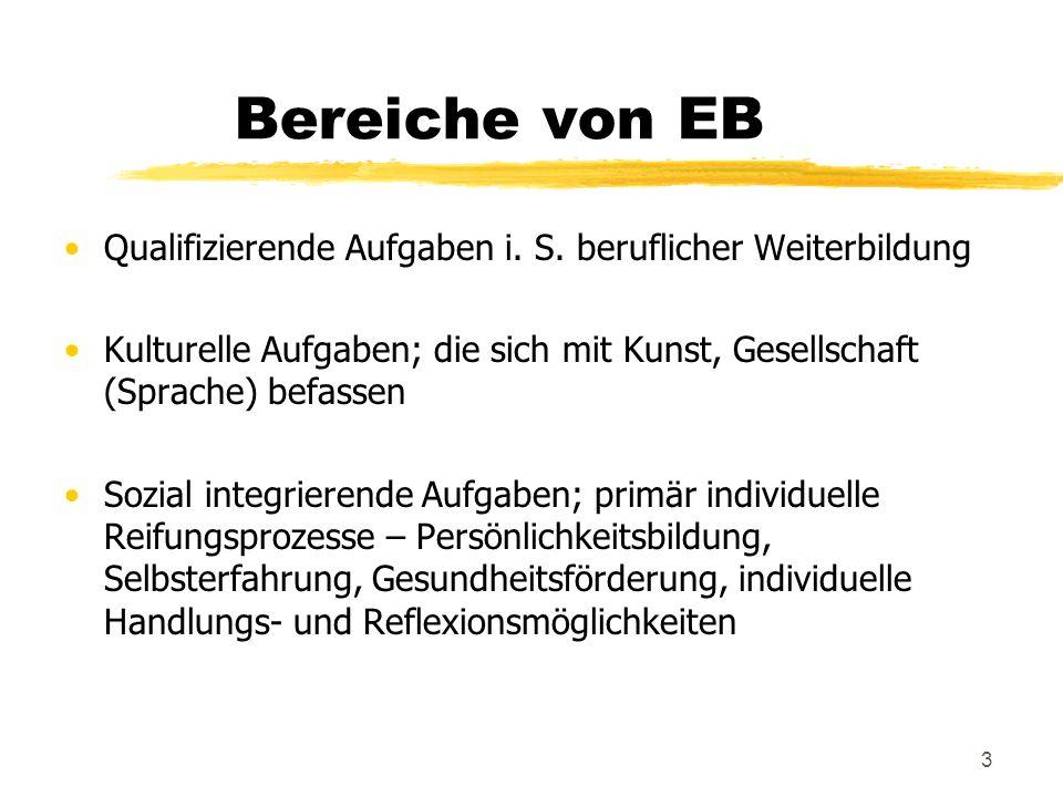 Bereiche von EB Qualifizierende Aufgaben i. S. beruflicher Weiterbildung. Kulturelle Aufgaben; die sich mit Kunst, Gesellschaft (Sprache) befassen.