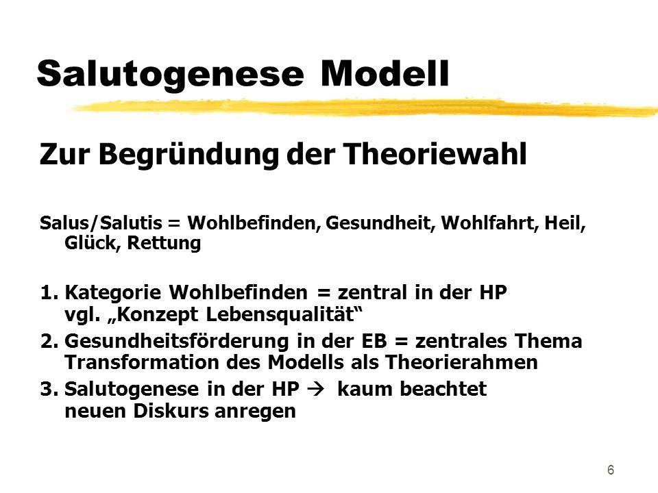 Salutogenese Modell Zur Begründung der Theoriewahl
