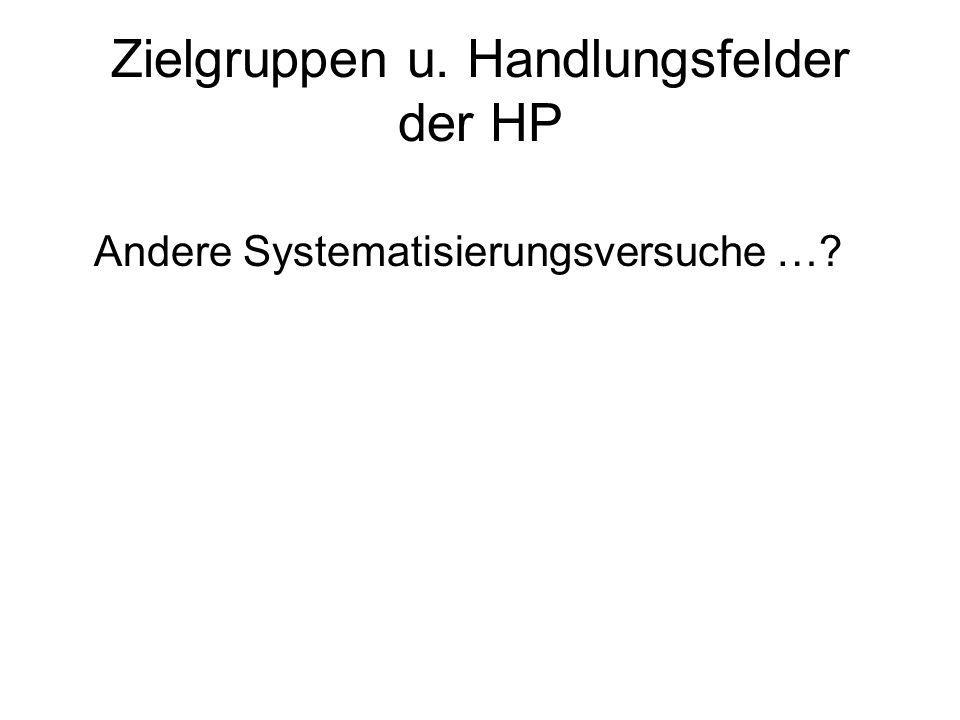 Zielgruppen u. Handlungsfelder der HP