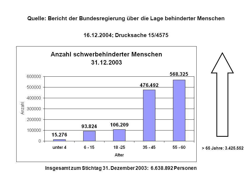 Quelle: Bericht der Bundesregierung über die Lage behinderter Menschen 16.12.2004; Drucksache 15/4575