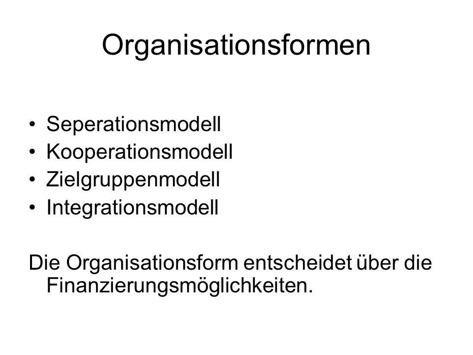Organisationsformen Seperationsmodell Kooperationsmodell