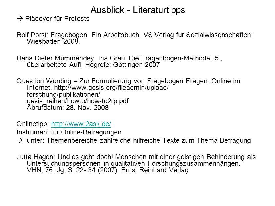 Ausblick - Literaturtipps