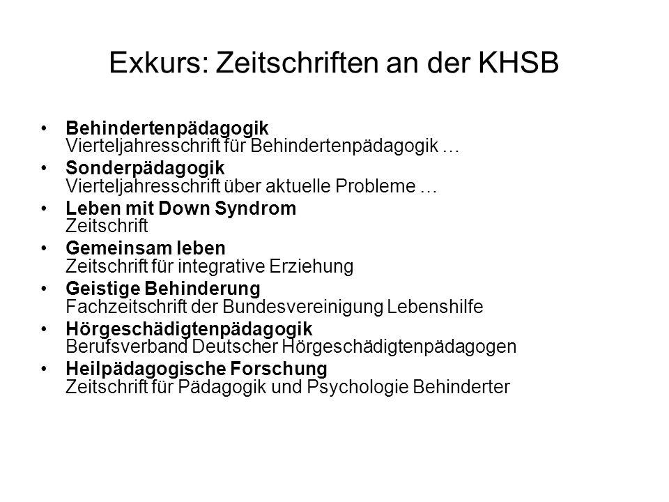 Exkurs: Zeitschriften an der KHSB