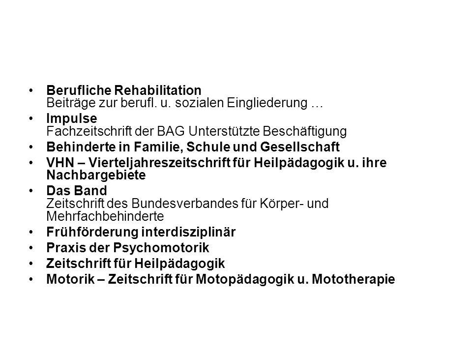 Berufliche Rehabilitation Beiträge zur berufl. u