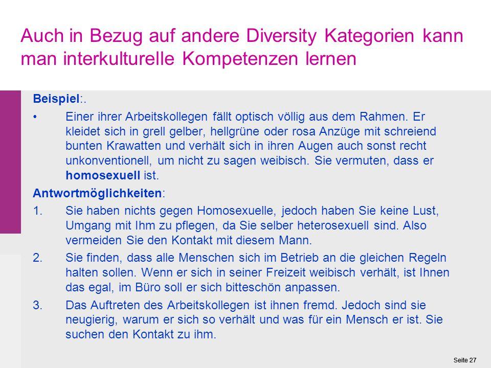 Auch in Bezug auf andere Diversity Kategorien kann man interkulturelle Kompetenzen lernen