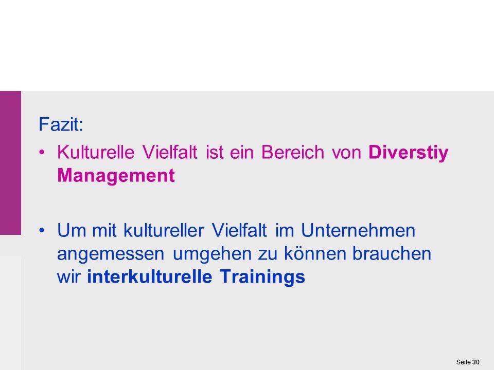 Fazit: Kulturelle Vielfalt ist ein Bereich von Diverstiy Management.
