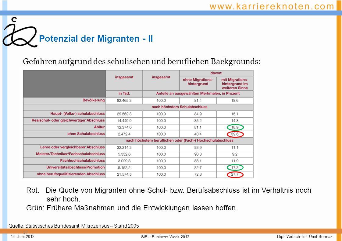 Potenzial der Migranten - II