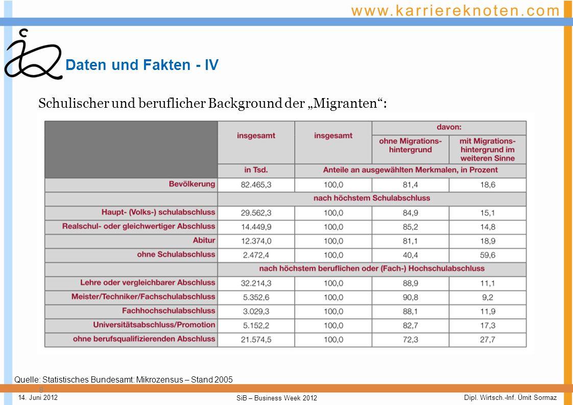 """Daten und Fakten - IV Schulischer und beruflicher Background der """"Migranten : Quelle: Statistisches Bundesamt: Mikrozensus – Stand 2005."""