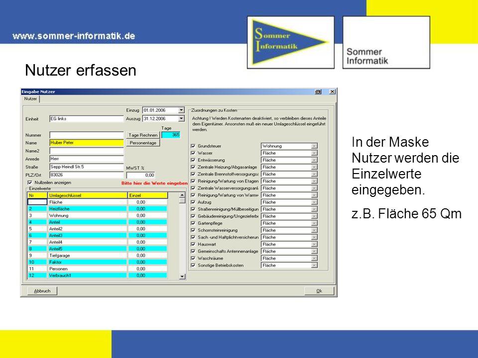 Nutzer erfassen In der Maske Nutzer werden die Einzelwerte eingegeben.