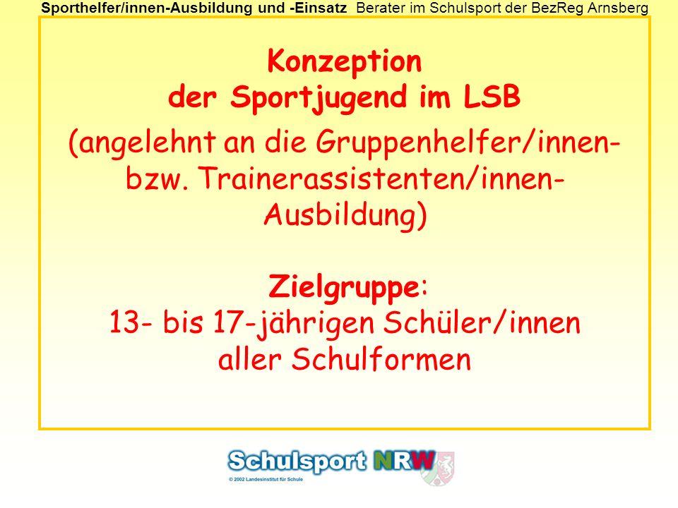 Konzeption der Sportjugend im LSB (angelehnt an die Gruppenhelfer/innen- bzw.