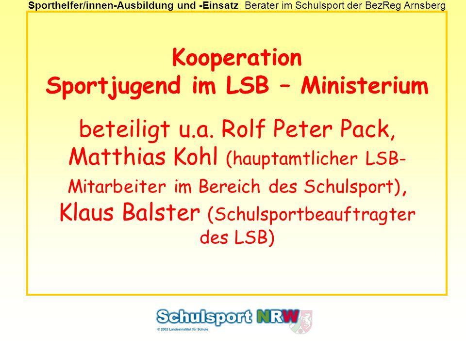 Kooperation Sportjugend im LSB – Ministerium beteiligt u. a