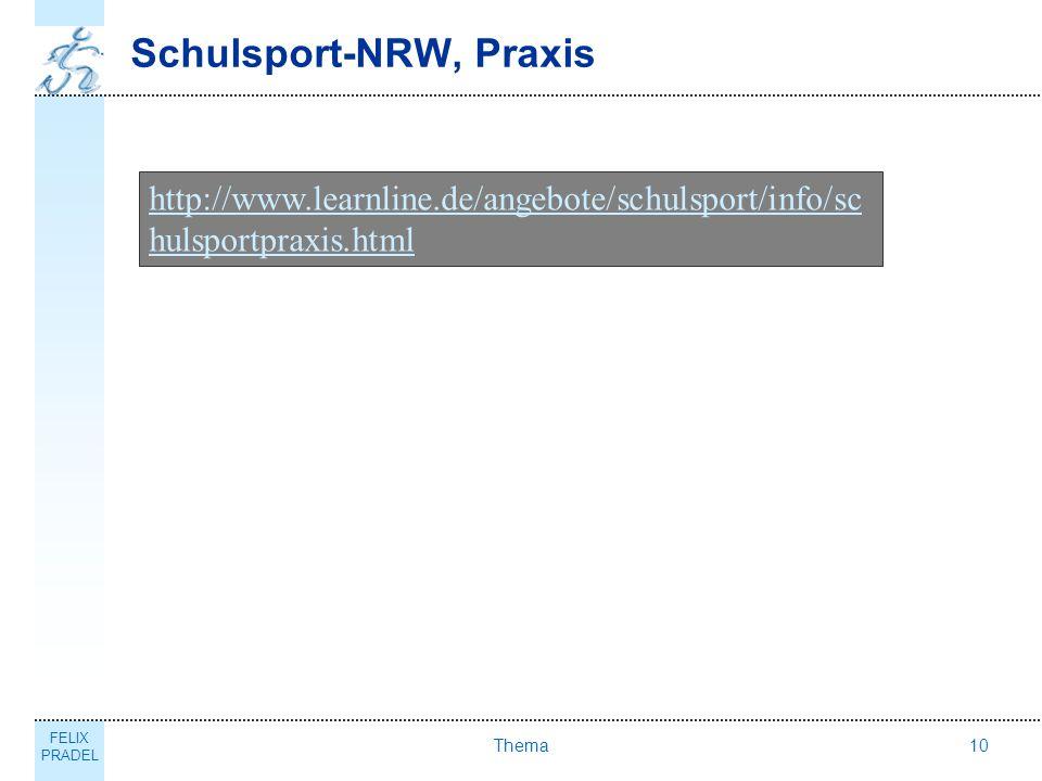 Schulsport-NRW, Praxis